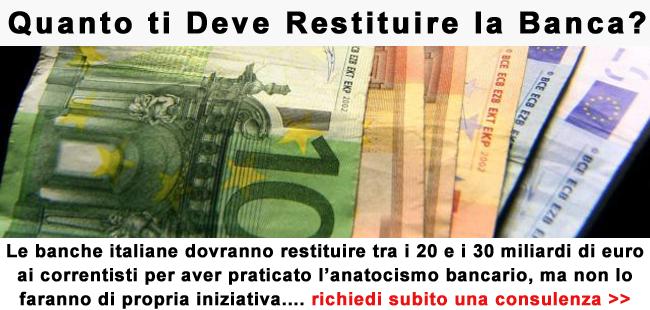 Assistenza legale per risarcimento anatocismo bancario Le banche italiane dovranno restituire tra i 20 e i 30 miliardi di euro ai correntisti per aver praticato l'anatocismo bancario, ma non lo […]